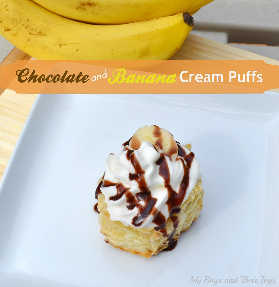Chocolate & Banana cream puffs with chocolate drizzle and bananas