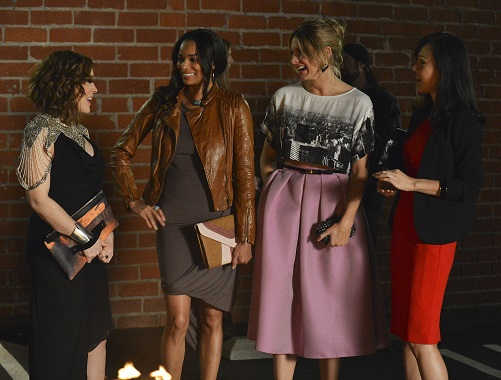 """MISTRESSES - """"Rebuild"""" - Eight months later, Savi, having cheated death, makes the most of her second chance. Karen struggles to rebound from loss, both personal and professional. April's life gets interesting when old friend, Mickey (guest star Joseph May), returns and pushes her to make some changes and Joss tries her hand at a new job, party planner to wealthy Angelenos, in the second season premiere of """"Mistresses,"""" MONDAY, JUNE 2 (10:01-11:00 p.m., ET) on the ABC Television Network. (ABC/Eric McCandless) ALYSSA MILANO, ROCHELLE AYTES. JES MACALLAN, YUNJIN KIM"""