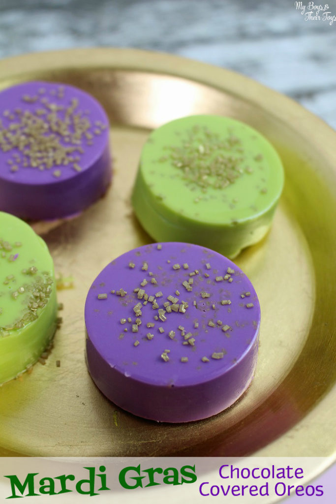 Mardi gras chocolate covered oreos