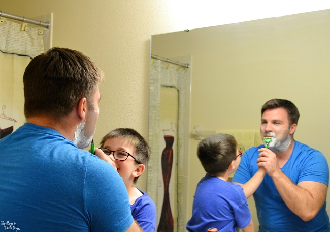 Teaching boys to shave