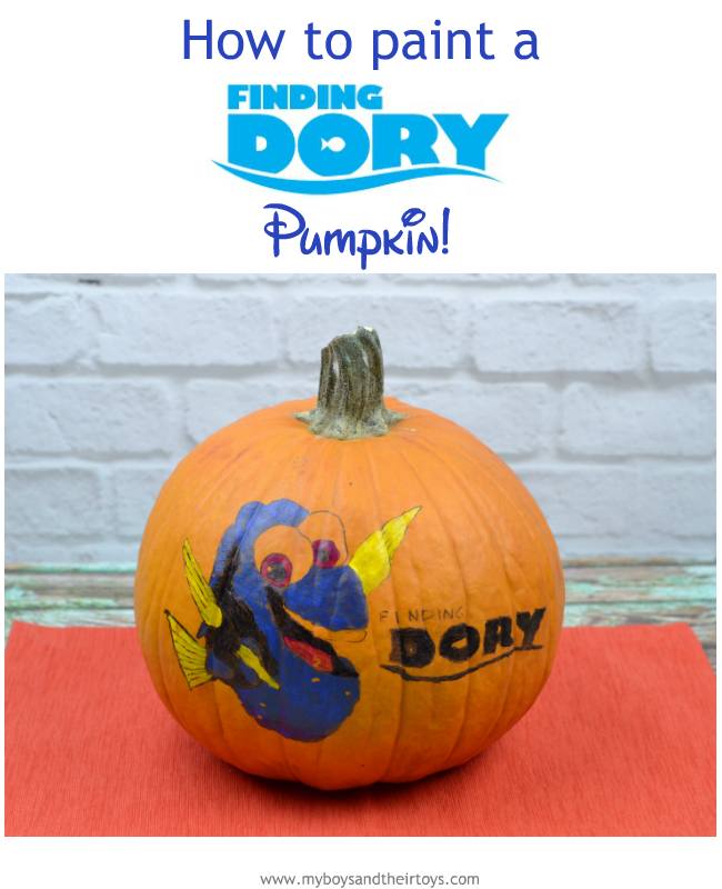 how to paint a finding dory pumpkin