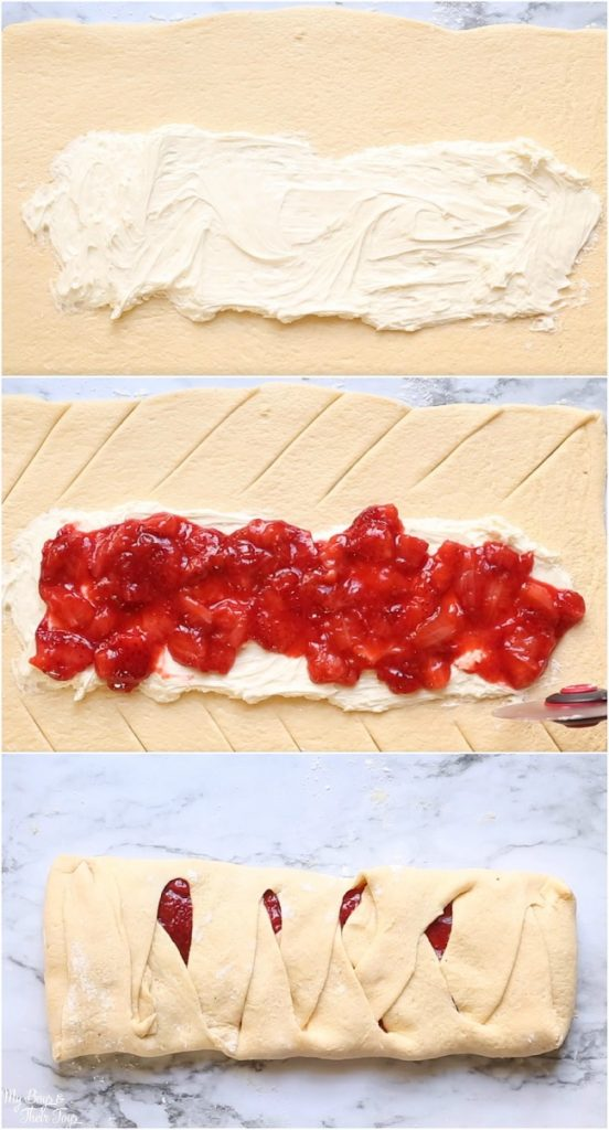 strawberry crescent braid steps